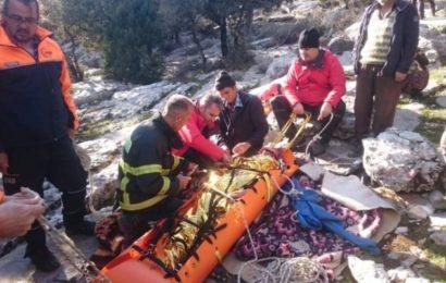Keçi Otlatırken Kayalıklara Düşen Çobana Kurtarma Operasyonu